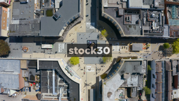 Rotating Overhead Drone Shot Of Broadmead Shopping Area In Bristol, UK