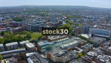 Drone Shot Flying Over Bristol City Centre And River Avon, UK