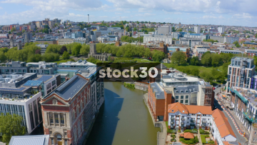 Drone Shot Flying Over River Avon And St Peter's Church In Bristol, UK