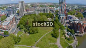 Drone Shot Flying Backwards Over Castle Park And St Peter's Church In Bristol, UK