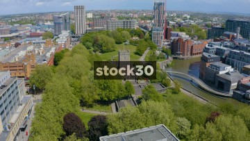 Drone Shot Flying Over St Peter's Church And Castle Park In Bristol, UK