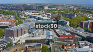 Drone Shot Flying Backwards Away From Cabot Circus Shopping Centre In Bristol, UK