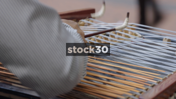 Close Up Shots Of Busker Playing Cimbalom On New Street In Birmingham, UK