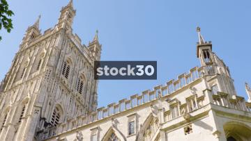 Gloucester Cathedral, Close Up Panning Shot, UK