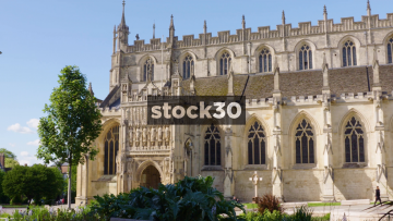 Gloucester Cathedral, Panning Shot Followed By Close Up On Tower, UK