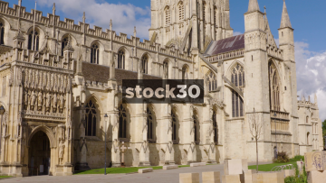 Gloucester Cathedral, Static Shot With People Passing By, UK