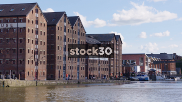 Warehouse Buildings At Gloucester Docks, Slow Zoom Out, UK
