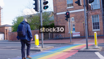 Zebra Crossing In Gloucester Painted With LGBT Rainbow Flag, UK