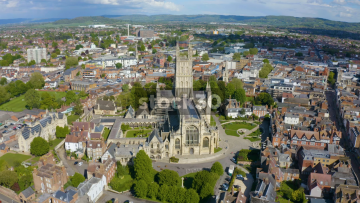 Orbiting Anticlockwise Drone Shot Of Gloucester Cathedral, UK