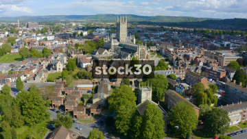 Drone Shot Flying Towards Gloucester Cathedral, UK