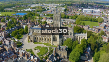 Orbiting Clockwise Drone Shot of Gloucester Cathedral, UK