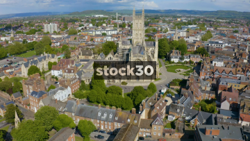 Long Orbiting Anticlockwise Drone Shot Of Gloucester Cathedral, UK