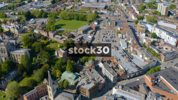 Drone Shot Moving Sideways Past Gloucester Cathedral, UK