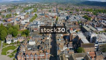 Drone Shot Flying Over Gloucester City Centre, UK