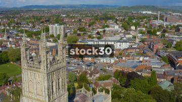 Drone Shot Moving Backwards Over Gloucester Cathedral, UK