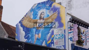 NHS Angel Artwork On Side Of Buiding In Brighton, UK