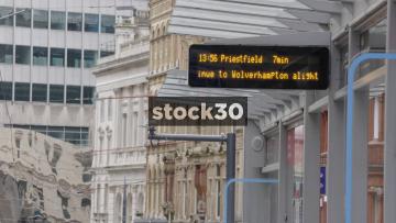 LED Sign At Tram Stop On Corporation Street In Birmingham, UK. Departing Tram.