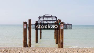 Burnt Out Pier In Brighton, Slow Zoom In, UK