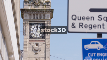 The Jubilee Clock Tower In Brighton, Close Up And Wide Shots, UK