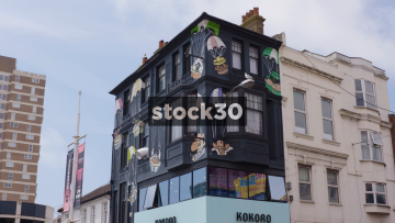 Street Art On The Side Of A Building On Western Road In Brighton, UK