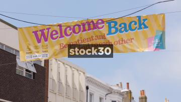 COVID19 Welcome Back Sign On Western Road In Brighton, UK