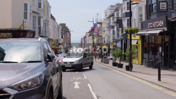 Preston Street In Brighton With Ocean In Background, Slow Zoom In, UK