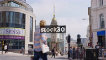 Slow Zoom In To The Jubille Clock Tower In Brighton, UK