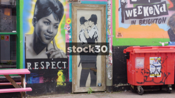 Banksy's Kissing Coppers In Brighton, Wide And Close Up, UK