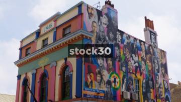 Street Art Of Musicians On The Prince Albert Pub In Brighton, UK