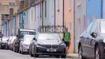 Colourful Terraced Houses On Kemp Street In Brighton, UK