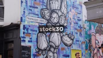 Street Art On Trafalgar Lane In Brighton, UK