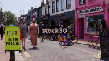 Sydney Street In Brighton With Eclipse Tattoo And Piercing Sign, UK