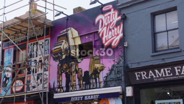 Street Art Of Imperial Walkers From Star Wars On Sydney Street In Brighton, UK