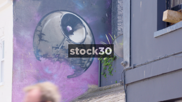 Street Art Of The Death Star From Star Wars On Gloucester Street In Brighton, UK