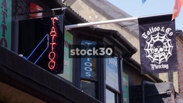 Tattoo And Piercing Shop On Kensington Gardens In Brighton, UK
