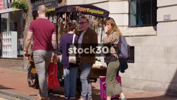 Jewellery Retailer Stall On Bond Street In Brighton, UK