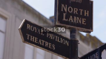 Tourist Signs For Royal Pavilion, Theatres, The Lanes And Seafront In Brighton, UK