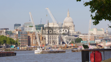 The River Thames In London With St Paul's Cathedral In Background, UK