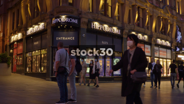 Hippodrome Casino In London At Night, Wide Shot And Close Up On Sign, UK