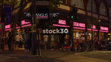 Angus Steakhouse In London At Night, UK