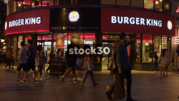 Burger King In Leicester Square, London At Night, UK