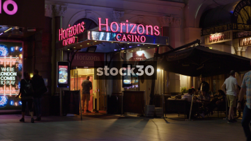 Horizons Casino In London At Night, Wide Shot And Close Up, UK