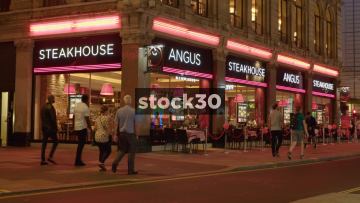 Angus Steakhouse Near Leicester Square In London At Night, UK