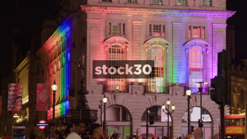 Close Up Shot Of The Swan & Edgar Building In Piccadilly Circus, London Illuminated With Rainbow Colours, UK
