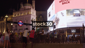 Piccadilly Circus In London At Night, UK