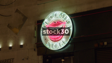 The Comedy Store In London At Night, Close Up And Wide, UK