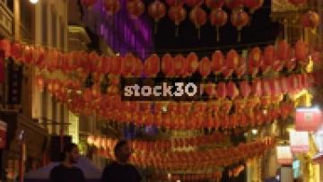 Chinese Lanterns Hanging In China Town, Soho, London, UK