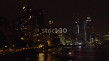 Vauxhall By The River Thames In London At Night, UK