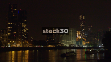 View Over The River Thames In London At Night, UK