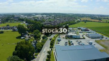 Drone Shot Flying Towards Housing Estate In Wesham, Fylde, Lancashire, UK